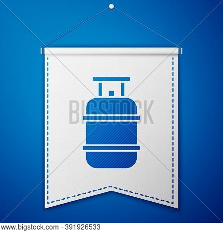 Blue Propane Gas Tank Icon Isolated On Blue Background. Flammable Gas Tank Icon. White Pennant Templ