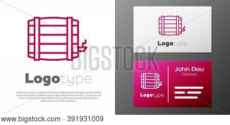 Logotype Line Wooden Barrel Icon Isolated On White Background. Alcohol Barrel, Drink Container, Wood
