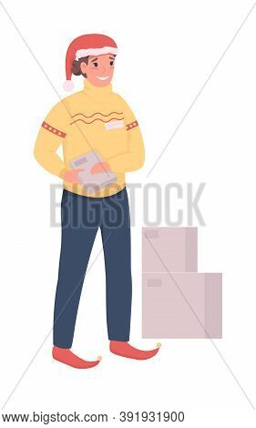 Postman On Christmas Flat Color Vector Character. Courier With Clipboard. Boxes Shipment. Winter Hol