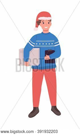 Post Office Courier On Christmas Flat Color Vector Character. Postman In Santa Hat. Fast New Year Pa