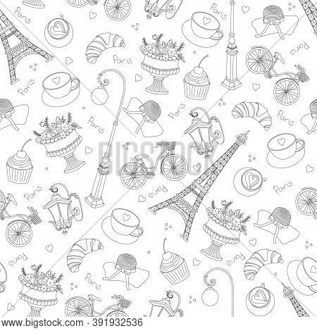Paris Seamless Pattern With Hand Drawn Sketch Elements - Eiffel Towerh, Fashion Items. Drawing Doodl