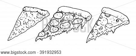 Set Of Delicious Pizza Slices With Melted Cheese With Doodle Or Style Sketch On White Background