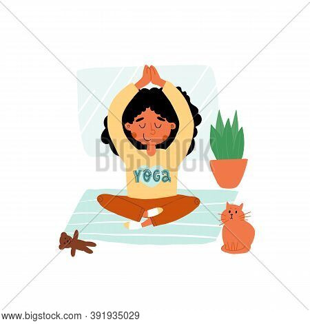 Indian Or Latin Girl In T-shirt With Yoga Sign Put Down A Toy And Meditates In Lotus Or Padmasana Po