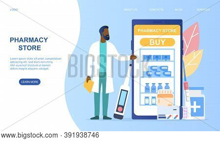 Concept Of Online Pharmacy Store. Pharmacy Delivery. Can Use For Web Banner, Infographics. Flat Cart