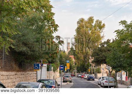 Jerusalem, Israel, October 24, 2020 : The Quiet Haayin Het Street Near The Old City Of Jerusalem, Is