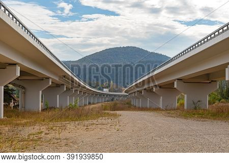 New Elevated Dual Highway Overpass Concrete Structure