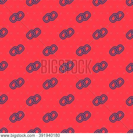 Blue Line Chain Link Icon Isolated Seamless Pattern On Red Background. Link Single. Hyperlink Chain