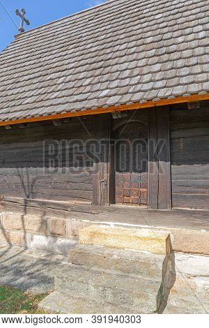 Entrance To Old Wooden Church In Serbia