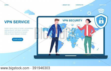 Vpn Service Concept. Vpn Security Software. Virtual Private Network. Secure Internet Connection And