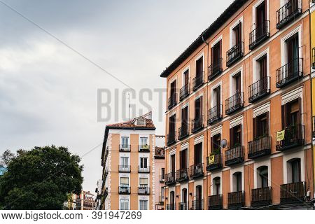 Madrid, Spain - 4th October, 2020: Picturesque View Of Plaza Del Humilladero, Square Of Humilladero,