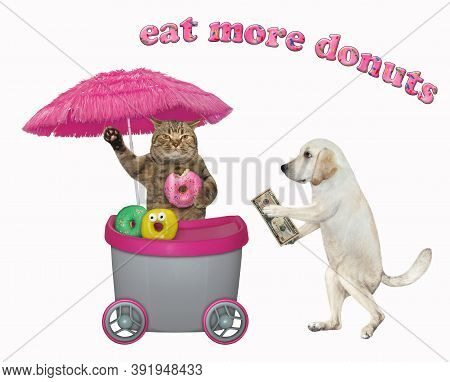 A Dog Buys Donuts At A Mini Movable Kiosk. Eat More Donuts. Insulated.