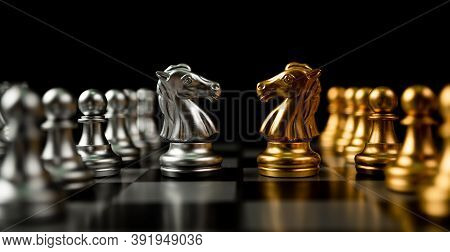 Golden And Silver Horse Chess Pieces Invite Face To Face And There Are Chess Pieces In The Backgroun