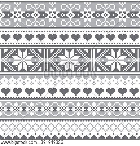 Scottish Fair Isle Style Traditional Knitwear Vector Seamless Pattern, Retro Gray And White Shetland