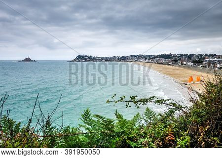 Pleneuf Val Andre Beach, Coast And City Landscape, Brittany, France