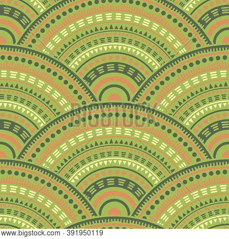 Mexican Medallions Mosaic Embroidery Vector Seamless Pattern. Tribal Motifs Suzani Line Art Geometry