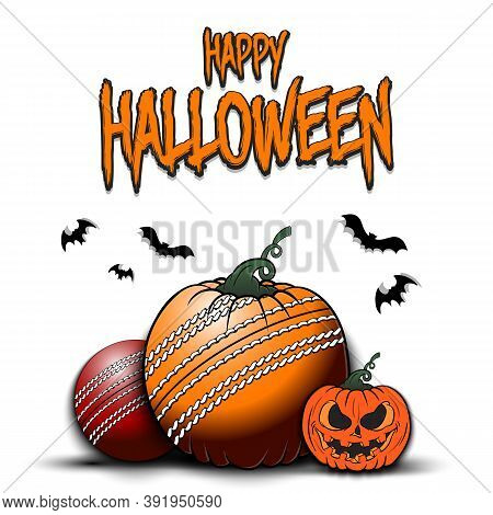 Happy Halloween. Template Cricket Design. Cricket Balls In The Form Of A Pumpkins On An Isolated Bac