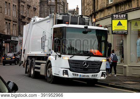 Edinburgh, Scotland - July 29, 2019: Mercedes-benz Econic 2630 Garbage Truck In The Streets Of Edinb