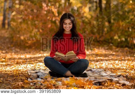 Charming Young Woman In Knitted Red Sweater Reading Book While Sitting On Picnic Blanket At Autumn P