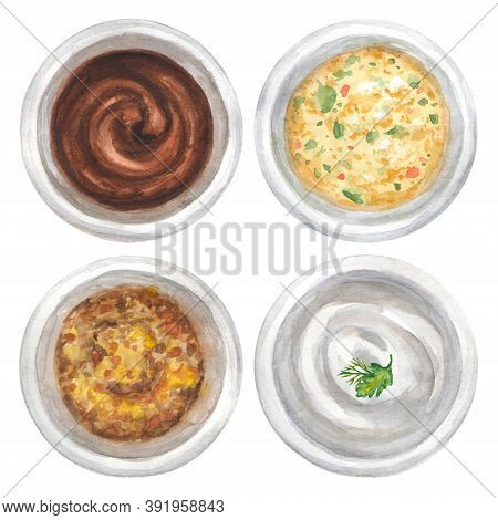 Part 2 Watercolor Barbecue Sauce, Grain Mustard, Sour Cream And Cowboy Butter In Bowl Set Isolated O