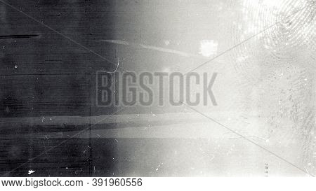 Noisy Film Frame With Heavy Scratches, Dust And Fingerprint. Abstract Old Film Background