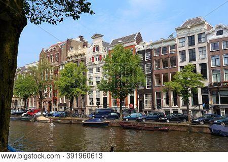 Amsterdam, Netherlands - July 7, 2017: Keizersgracht Canal In Amsterdam, Netherlands. Amsterdam Is T
