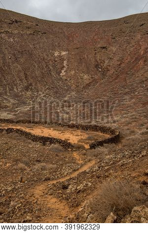 Stone Corral On The Fuerteventura Gr 131 Nature Trail From Corralejo To Morro Jable In Summer 2020.