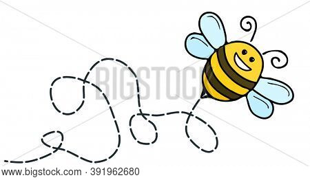 An illustration of a funny bee comic character