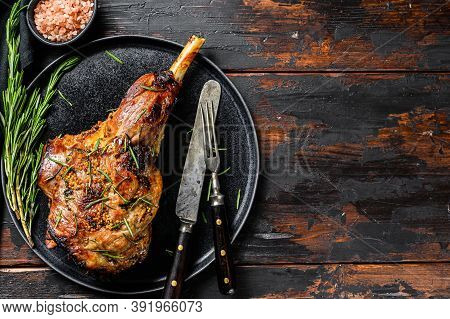 Bbq Roasted Goat Leg. Farm Meat. Dark Wooden Background. Top View. Copy Space