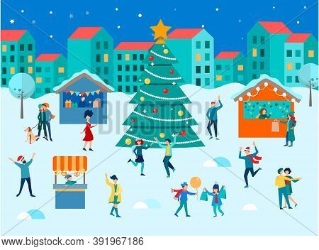 The Townspeople Dance And Have Fun For Christmas And New Years At The Christmas And New Year's Gifts