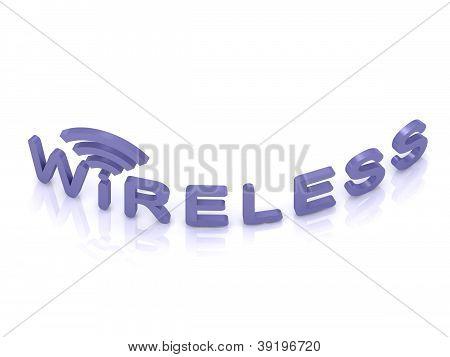 Blue Wireless Logo, 3D Render