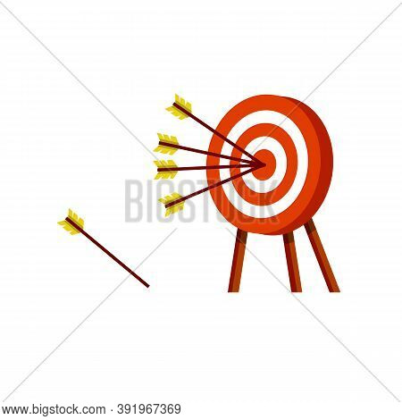 Target For Arrows. Business Concept Several Attempts. Shooting And Championship