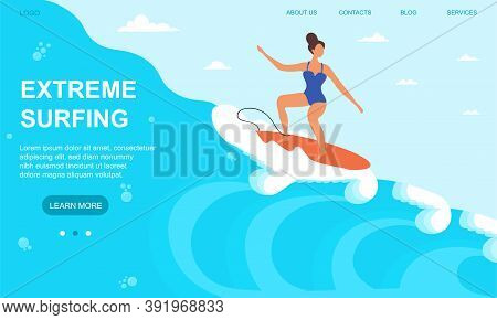 Young Sportswoman Surfing In Sea Or Ocean. Sport Activity Concept. Internet And Mobile Website. Land
