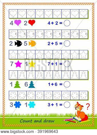 Math Education For Children. Solve Examples And Paint The Objects In Corresponding Colors. Write The