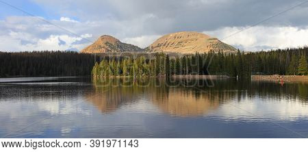 Panoramic view of scenic Trail lake landscape in Uinta Wasatch national forest in Utah