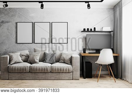 Interior Of A Room With Gray Sofa And Table With Pc And White Chair, Gray Concrete Wall, Track Light