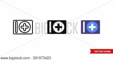 Add Album Icon Of 3 Types Color, Black And White, Outline. Isolated Vector Sign Symbol.