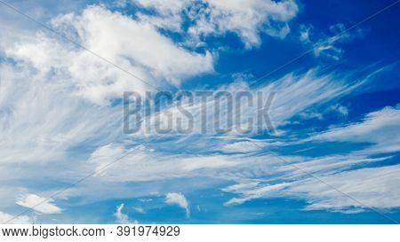 Abstract Blue Sky With Pattern Of White Cloud For Background Design