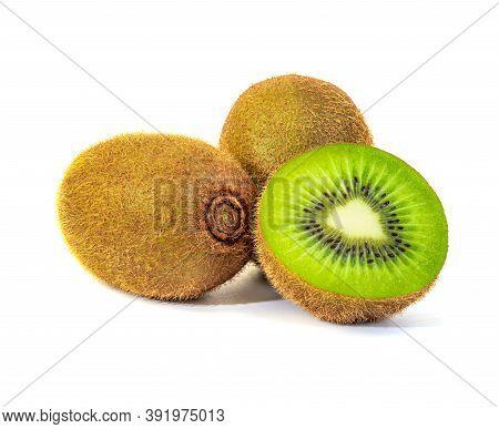 Kiwi Fruit And Slice Isolated On White Background