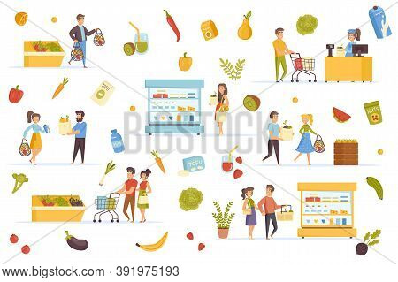 Vegan Food Bundle Of Flat Scenes. People Buying Eco Products In Shop Isolated Set. Fresh Fruits And