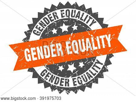 Gender Equality Stamp. Grunge Round Sign With Ribbon