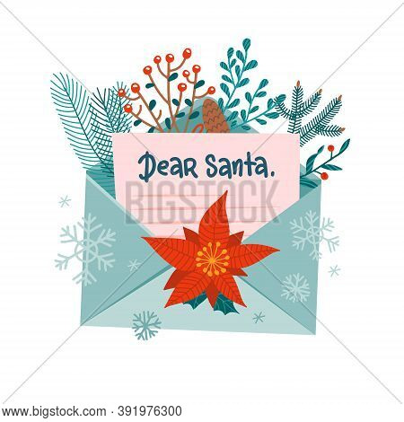 Christmas Letter To Santa Claus In Open Envelope. Festive Xmas Mail Decorated With Forest Branches.