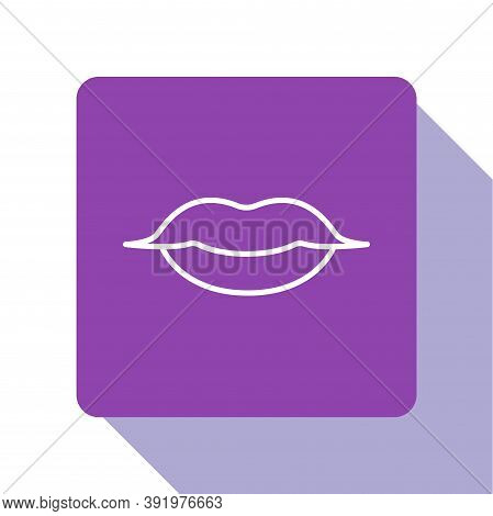White Line Smiling Lips Icon Isolated On White Background. Smile Symbol. Purple Square Button. Vecto