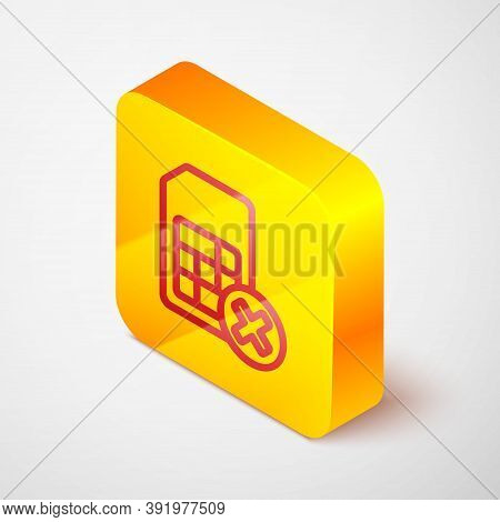 Isometric Line Sim Card Rejected Icon Isolated On Grey Background. Mobile Cellular Phone Sim Card Ch