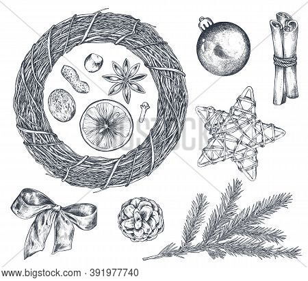 Collection Of Christmas Objects - Wreath, Star, Spruce Branch And Cinnamon.