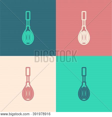 Pop Art Line Kitchen Whisk Icon Isolated On Color Background. Cooking Utensil, Egg Beater. Cutlery S