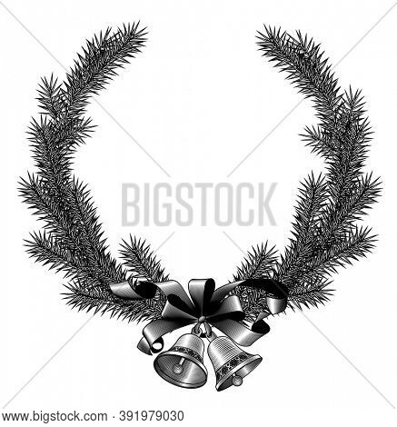 Christmas fir tree frame with bells and ribbon isolated on white. Vintage engraving stylized drawing