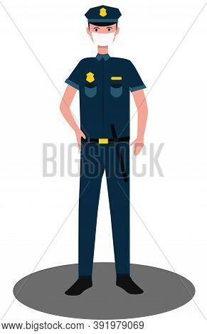 A Cop In A Medical Protective Mask Standing. Quarantine Control. Coronavirus Prevention. Vector Illu
