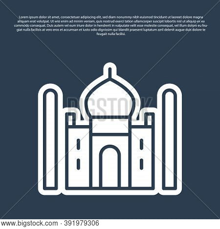 Blue Line Taj Mahal Mausoleum In Agra, Indiaicon Isolated On Blue Background. Vector