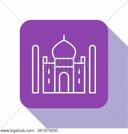 White Line Taj Mahal Mausoleum In Agra, Indiaicon Isolated On White Background. Purple Square Button