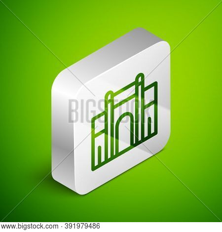 Isometric Line India Gate In New Delhi, India Icon Isolated On Green Background. Gate Way Of India M